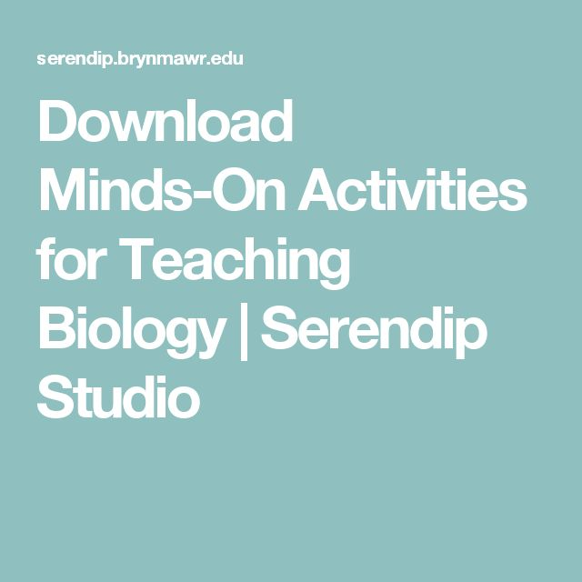 Download Minds-On Activities for Teaching Biology   Serendip Studio