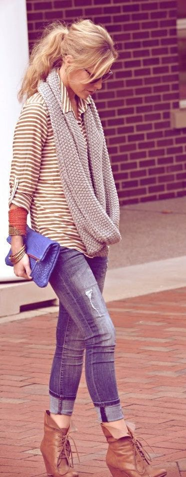 Cuffed Jeans, Booties, Stripes With Long Infinity Scarf #Denim