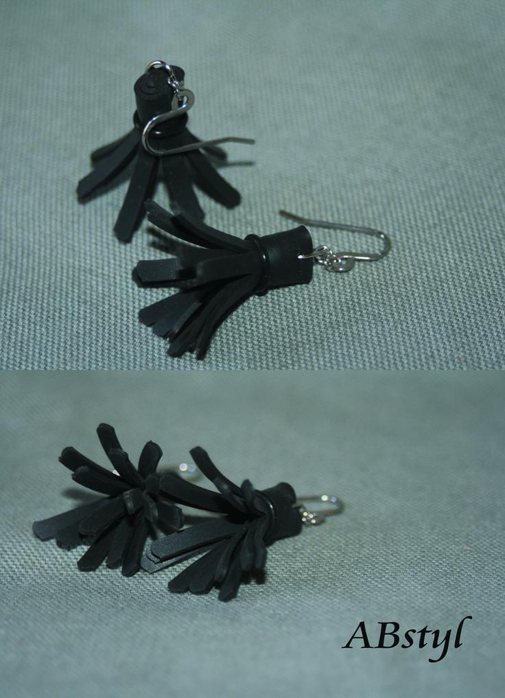boucles d'oreilles chambre à air Recyclé / Upcycling / bijoux vegan / éco bijoux : Boucles d'oreille par abstyl