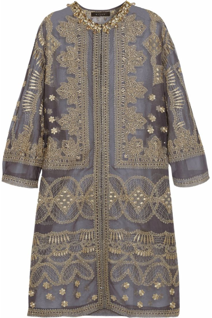 Biyan|Raya embellished silk-organza evening coat|NET-A-PORTER.COM