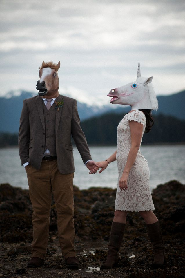 Flynn Fotography, Kally Flynn, Wedding Photography, Juneau Wedding Photographer, Juneau Alaska, Alaska Wedding, Beach Wedding, Alaska Elopement, Unicorn Mask, Unicorn Bride