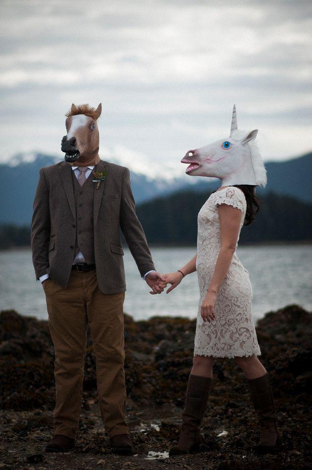 Flynn Fotography, Kally Flynn, Wedding Photography, Juneau Wedding Photographer, Juneau Alaska, Alaska Wedding, Beach Wedding, Alaska Elopement, Unicorn Mask, Unicorn Bride