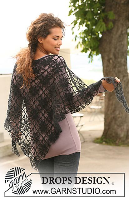 "Ravelry: 125-3 Crochet shawl in ""Kid-Silk"" pattern by DROPS design lace weight yarn"