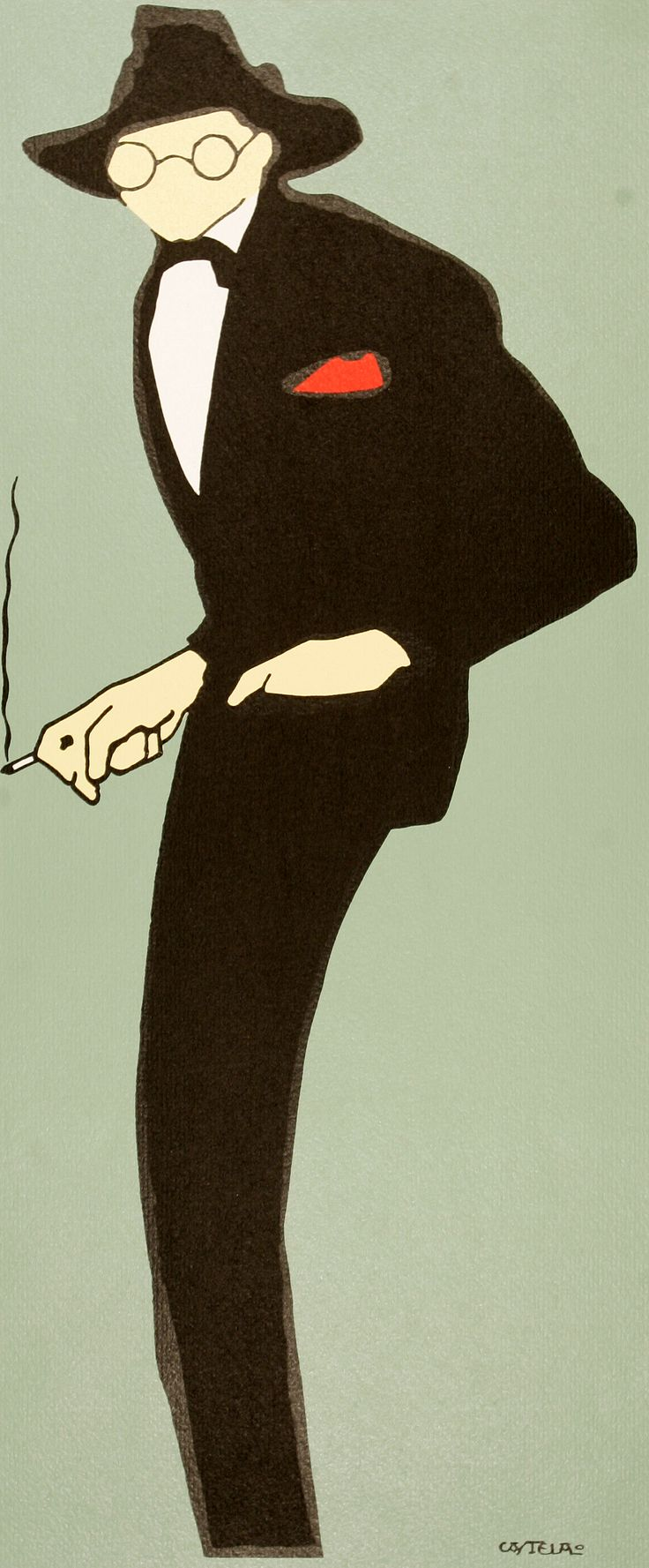 """Castelao.""""Autocaricatura"""", 1914, grabado/ serigrafía, 65 x 30'50 cm. Colección del Museo de Pontevedra"""