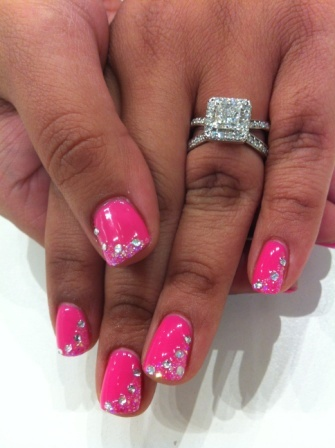 A nice swoop of iridescent glitter and rhinestones on Bio Sculpture Gel colour #89 - Bright Summer Pink