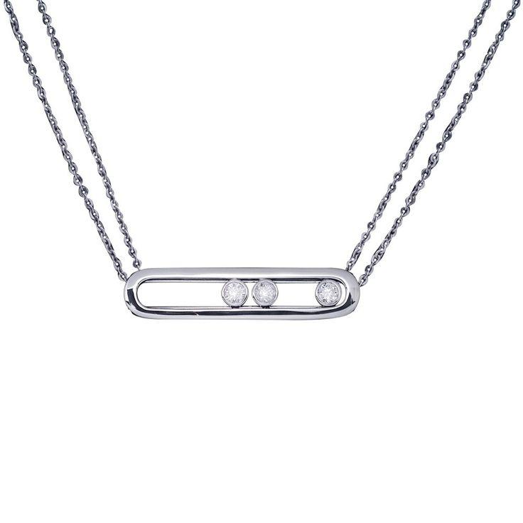 Collier Move double chaîne or blanc et diamants