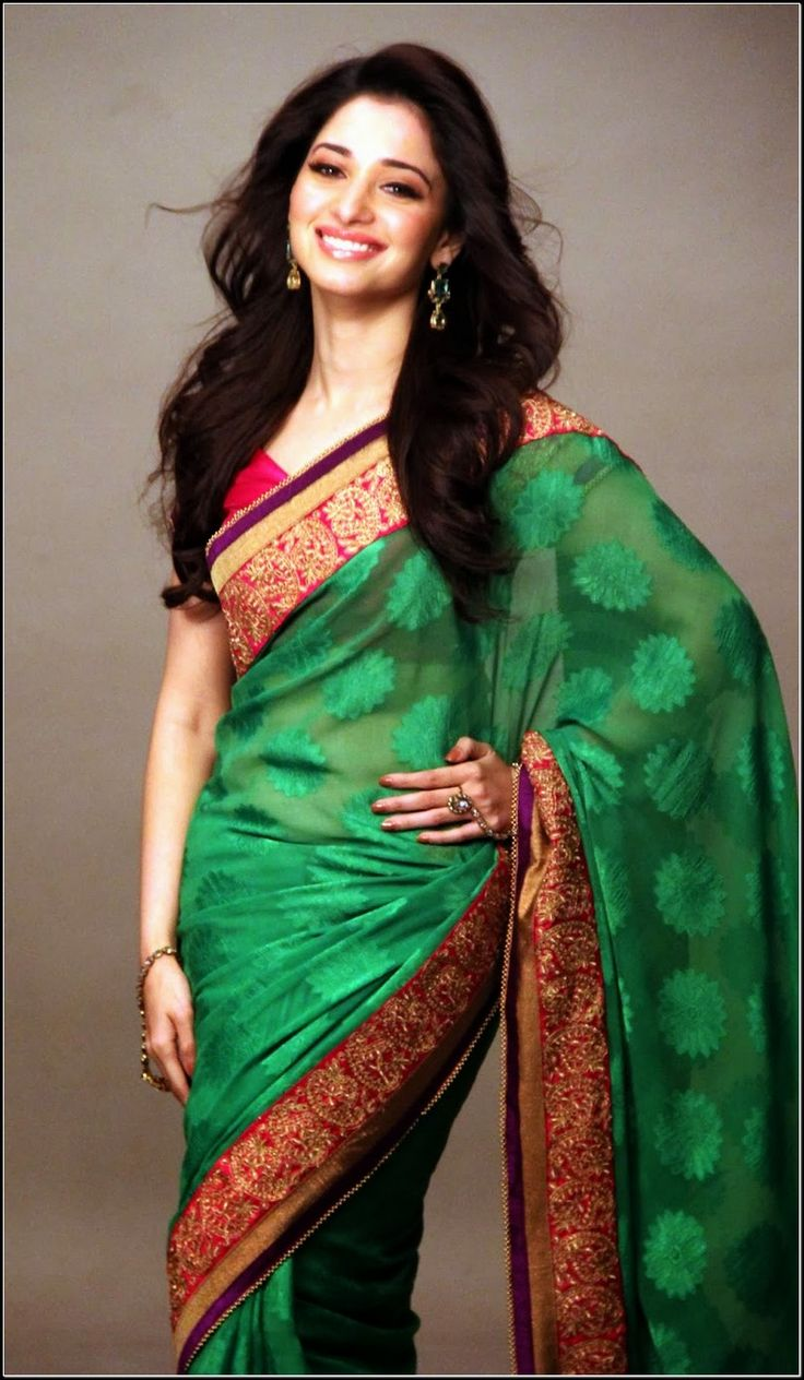 Z Fashion Trend: TAMANNA IN GREEN AND RED SOUTH INDIAN SAREE