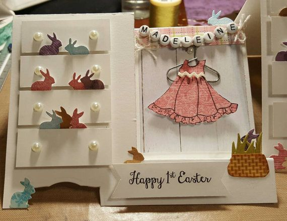 Handmade Greeting Card Baby or Little Girl dresser - Happy Easter or Birthday for a Little Girl. One of a kind! Personalized with her name!