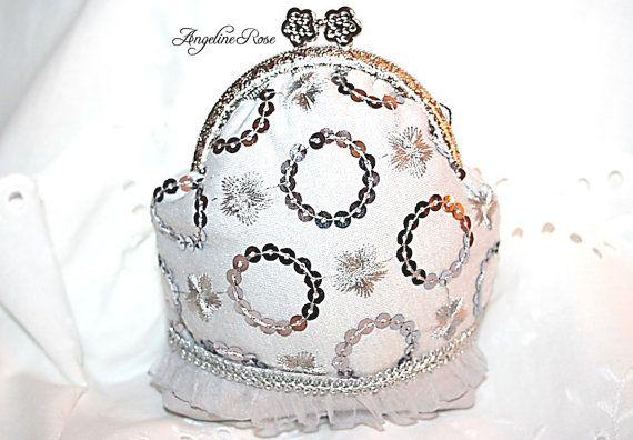 silver coin purse silver clutch silver metal by AngelineRosePurse