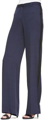 Theory Hariya Tuxedo-Stripe Georgette Pants - Shop for women's Pants - LIGHT NAVY/BLACK Pants