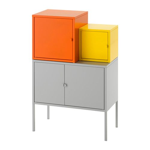 IKEA LIXHULT Storage combination Orange/yellow/grey 60x92 cm A colourful and complete combination where you can store both large and small items.