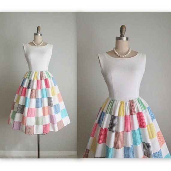 50's Patchwork Dress // Vintage 1950's Vibrant Patchwork Gingham Cotton Full Casual Day Dress S petite
