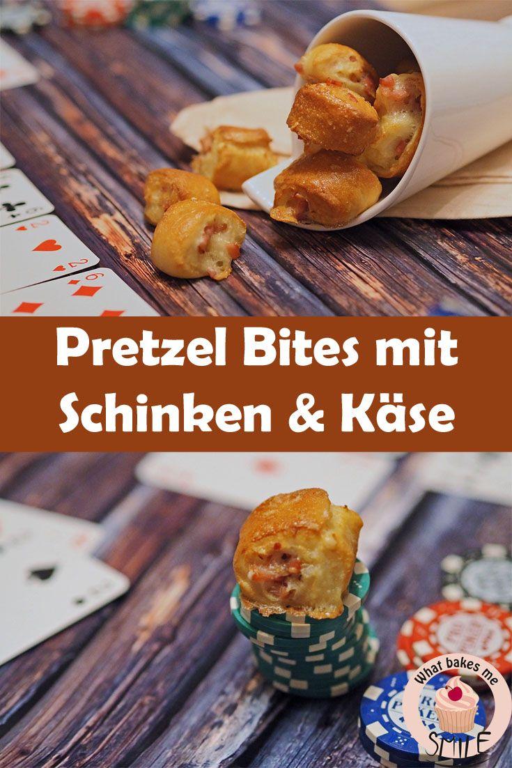 Leckere Brezelhäppchen mit Schinken-&Käsefüllung. Perfektes Fingerfood.