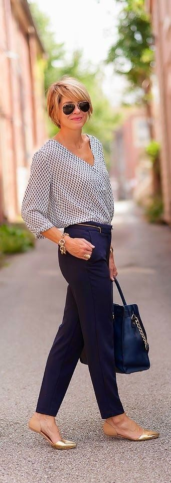 Patterned blouse and cute flats for a summer work look that's actually stylish!