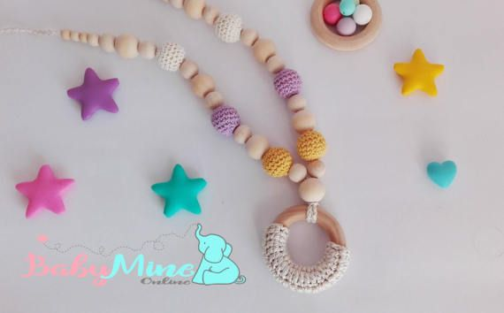 Teething Necklace   Natural Wood chew beads  by BabyMineStore
