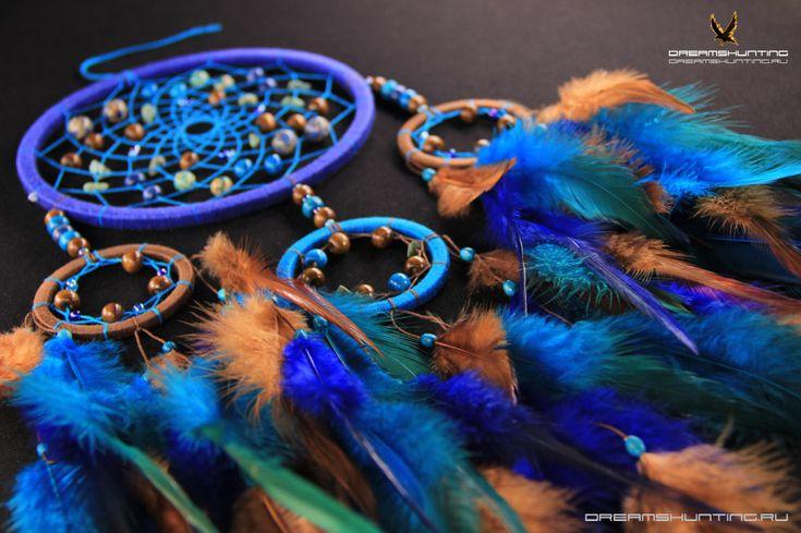 Сине-коричневый ловец снов с яшмой и бирюзой