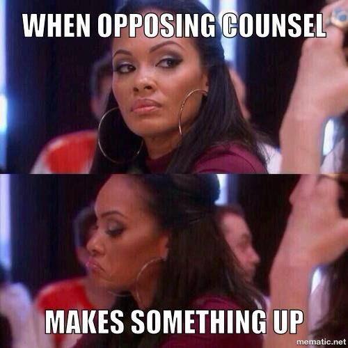 Lawyer humor. Ha,  just like that. Esp when you've heard it all your life, then comes the sequel trying to talk.