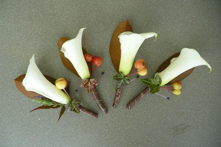 Autumn colours - buttonhole www.wanakaweddingflowers.co.nz/gallery/