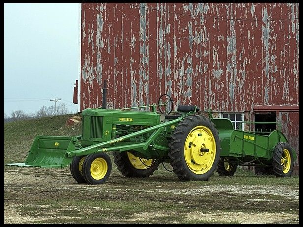 1953 John Deere 50 for sale by Mecum Auction $9,750 -sold with JD 45 loader and JD H spreader