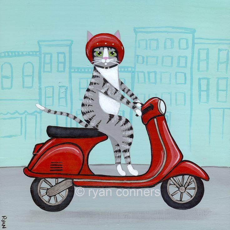 Red Vespa Silver Tabby Cat Folk Art Digital Print 8x8, 10x10 by KilkennyCatArt on Etsy https://www.etsy.com/listing/130799879/red-vespa-silver-tabby-cat-folk-art