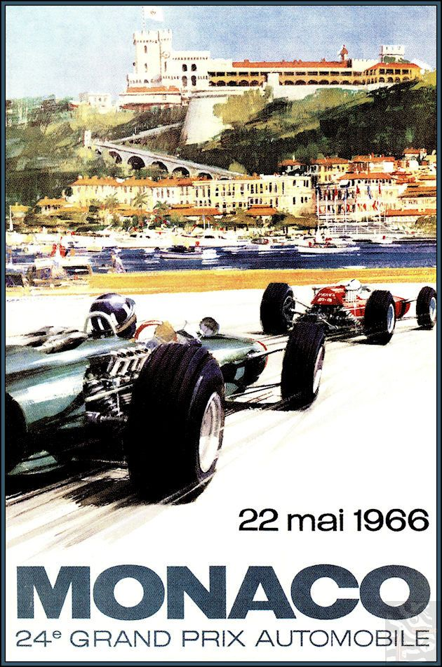 Monaco Gran Prix 1966 Vintage Poster Vintage Art Print Retro Style Vintage Car Auto Racing Advertising Free US Post Low EU post by VintagePosterPrints on Etsy
