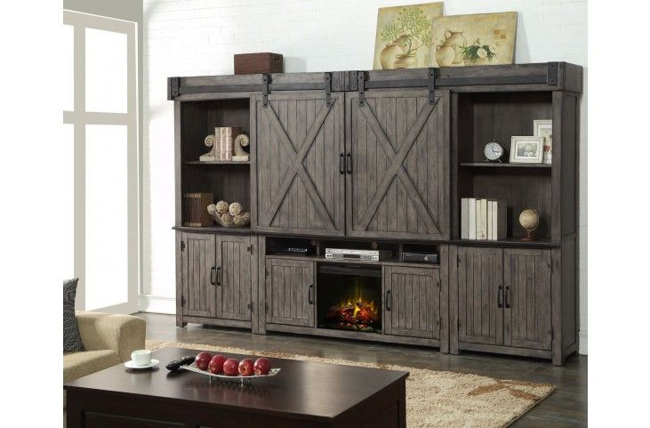 Storehouse Gray Entertainment Wall Unit With Fireplace Fireplace