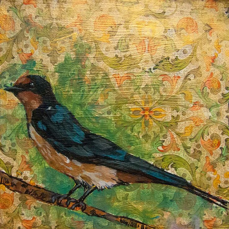 Mixed Media Painting on Canvas. Specs – 6 x 6 x 1 inches Part of my series on Pennsylvania Birds. I painted this from a photo of a Barn Swallow.