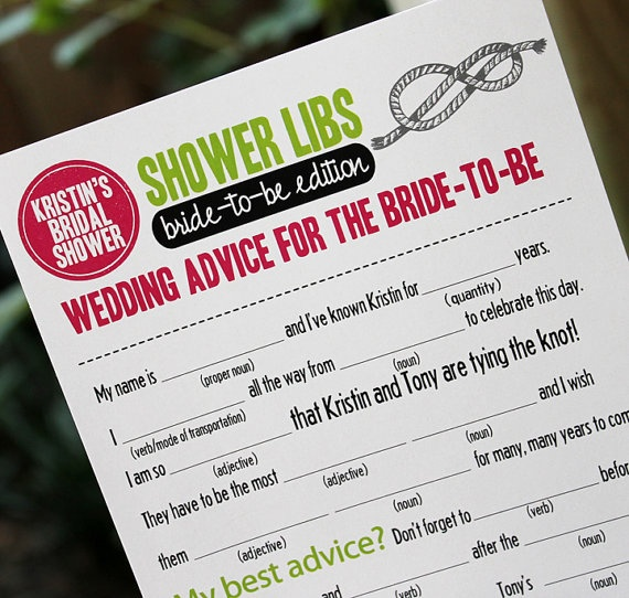 Mad libs for a bridal shower...cute