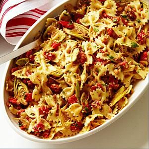 Farfalle with Artichokes, Peppers, and Almonds | MyRecipes.com
