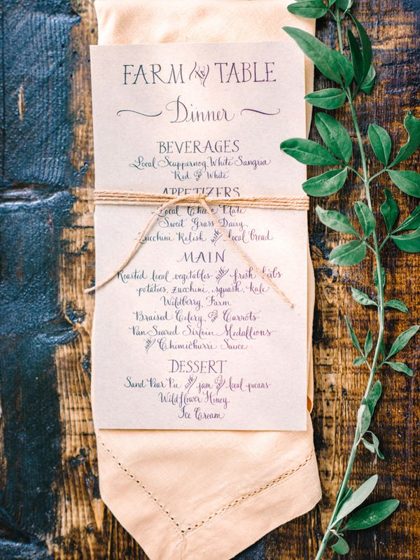 farm to table menu - photo by Pasha Belman Photography http://ruffledblog.com/bohemian-styled-southern-wedding-inspiration