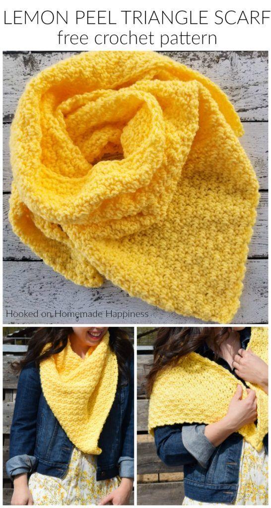 Casca de limão triângulo cachecol Crochet padrão
