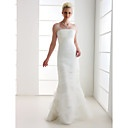 Trumpet/ Mermaid Off-the-shoulder Sweep/ Brush Train Tulle Wedding Dress - BRL R$ 419,50