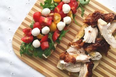 Healthy Roasted Chicken Caprese Sandwich Recipe with Truffle Mustard: Roasted Chicken Caprese Sandwich Recipe