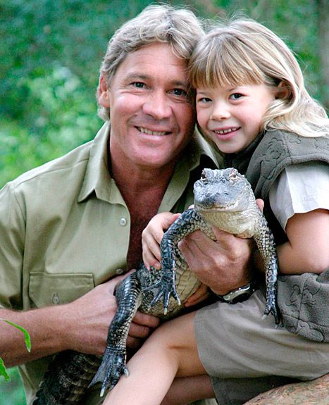 Bindi Irwin and her late father, Steve Irwin. He would be a proud daddy! Chase and I used to always watch his show! Such a compassionate human being. Miss him.