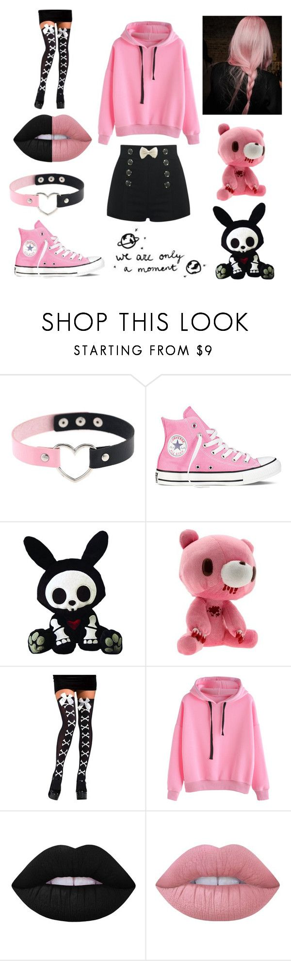 """Pastel Goth #5"" by poizell ❤ liked on Polyvore featuring Converse and Lime Crime"