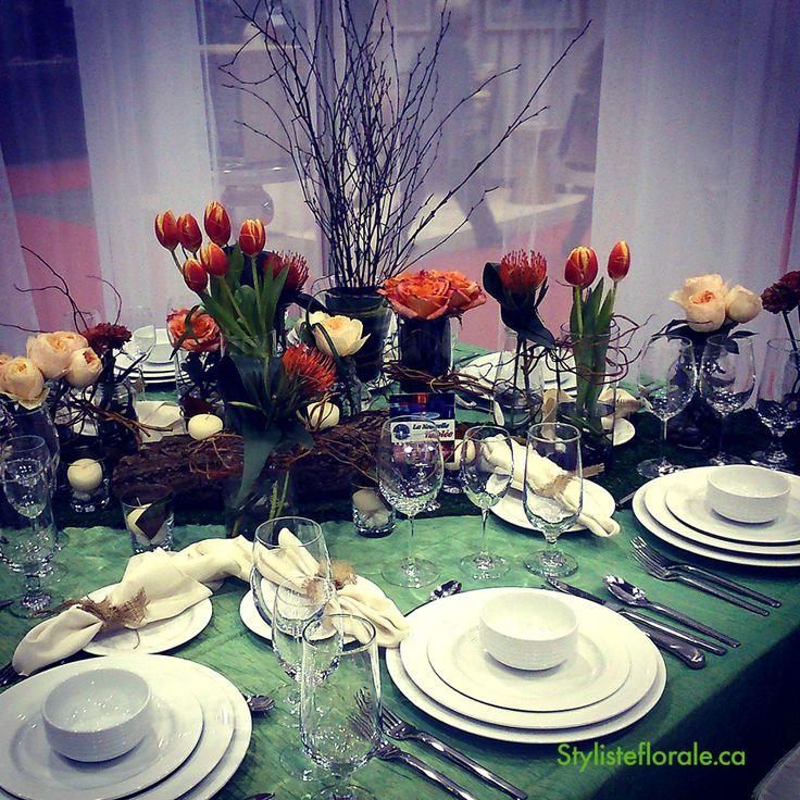 Mariage - centre de table  Orange - pêche - bois www.stylisteflorale.ca