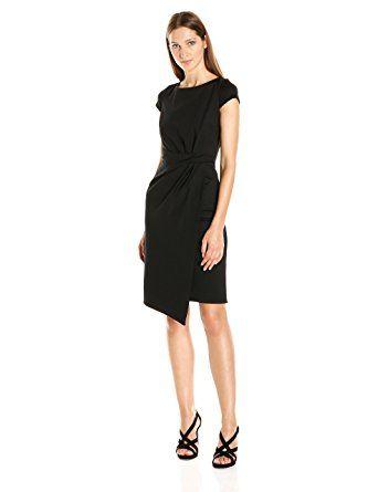 Jones New York Women's Short Sleeve Tucked Ponte Dress, Black, 8
