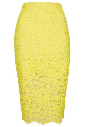 gorgeous yellow lace pencil skirt