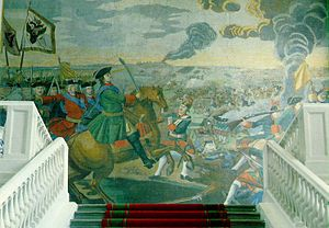 Battle of Poltava - The most grandiose of Mikhail Lomonosov's mosaics depicts the Battle of Poltava.