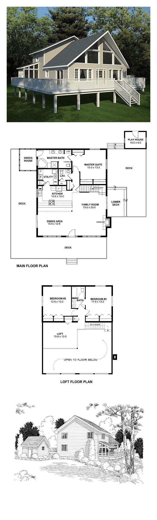 Contemporary House Plan 10515 | Total Living Area: 2044 sq. ft., 3 bedrooms & 2.5 bathrooms. The dining and family rooms are completely open to each other, perfect for hanging out in the warmth of the hearth. #houseplan #contemporarystyle