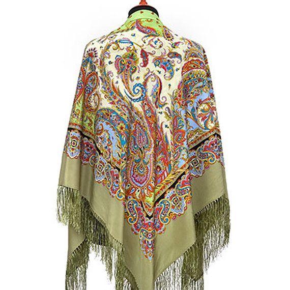 51 Russian Silk Shawl Scarf Pavlovo Posad 100% by ZimushkaShawls