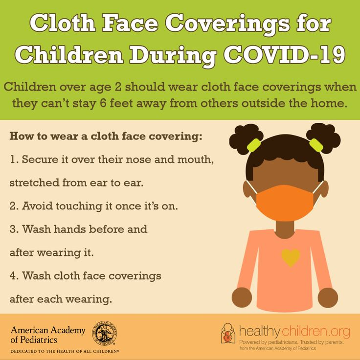 Children over the age of 2 years should wear cloth face