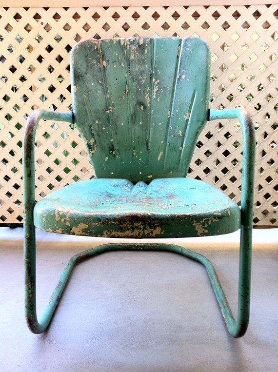 Teal Retro Patio Chair by ChairToSpare on Etsy, $80.00    Wow, we have about 6 of these on the porch!