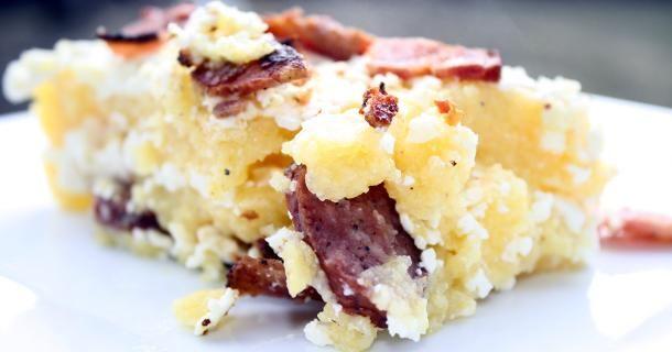 Mamaliga cu Branza in Paturi  Traditional Romanian recipe for polenta with feta and bacon.