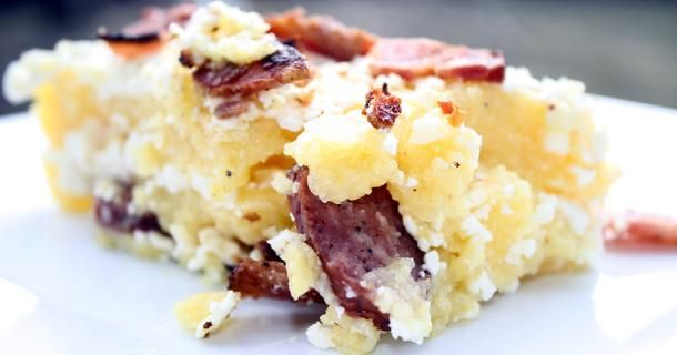 Mamaliga cu Branza in Paturi  Traditional Romanian recipe for polenta with feta and bacon.
