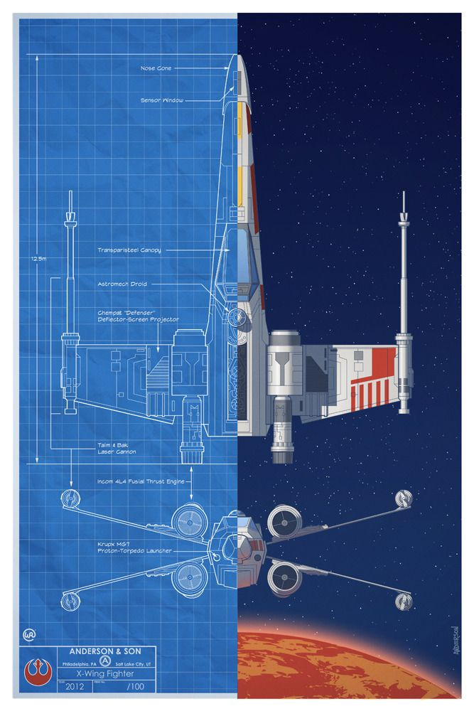 STAR WARS Inspired Battle of Yavin Spacecraft Blueprint Posters