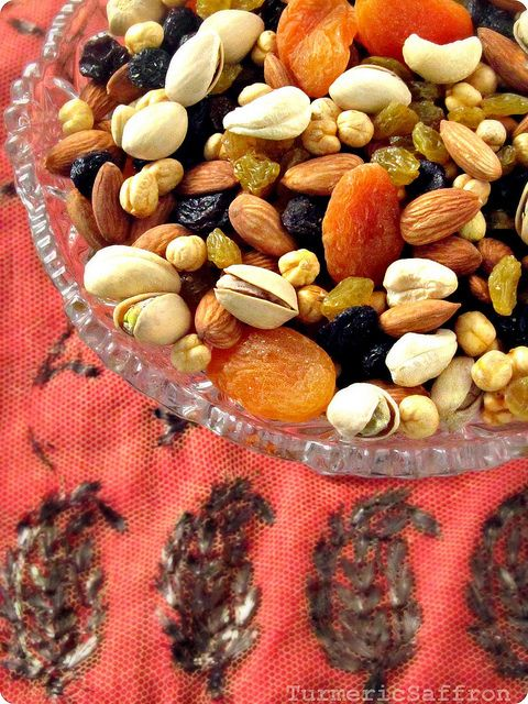 Ajil-e Chahar Shanbeh Suri - Persian Mixed Nuts Almonds,  pistachios,  hazelnuts,  roasted chickpeas,  raisins,  dried figs,  dried white mulberries dried apricots are very common ajil ingredients. Serving seasoned and toasted seeds such as watermelon and pumpkin seeds are also very common during the celebration. However, some of the ingredients may vary from one home to another depending on personal taste, preferences and also the availability.