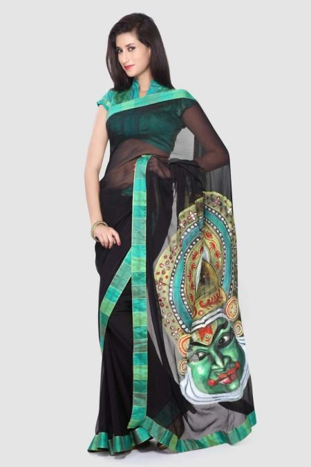 Black Kathkali Hand Painted Chiffon Saree