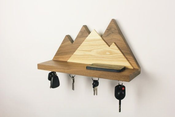 Floating Mountain Shelf and Magnetic Key Holder by GrainCustomWoodworks