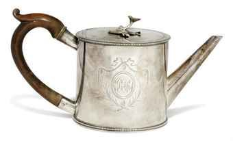 A GEORGE III SILVER DRUM TEAPOT  MARK OF TH (SCRIPT) (GRIMWADE 3832), LONDON, 1778  Price realised  GBP 812
